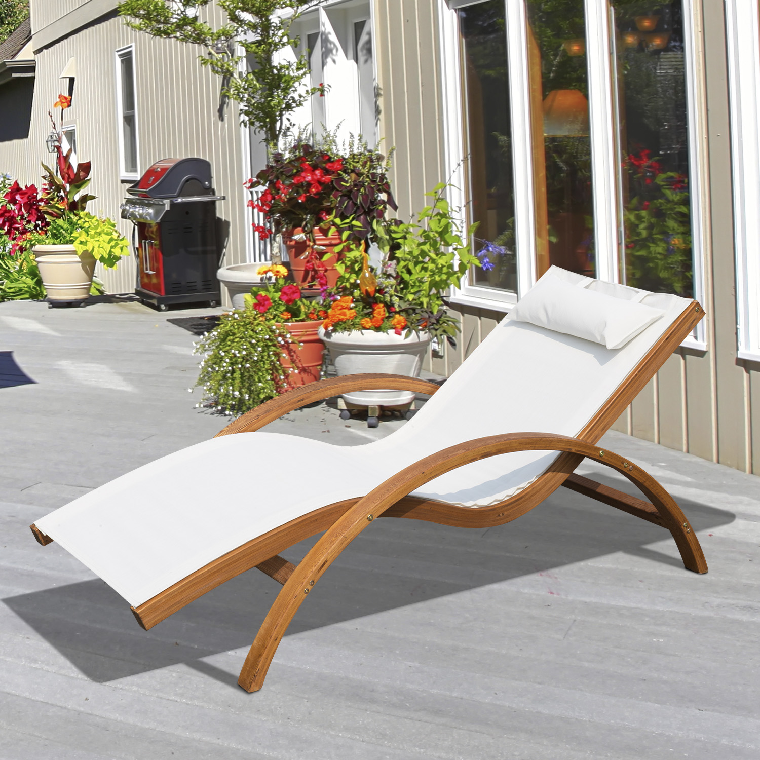 Image of CAD $179.99 Outsunny Outdoor Wood Sling Chaise Lounge Reclining Garden Mesh Lounger Patio Chair with Headrest Cream / Wooden Sun Seat Backyard w/ Pillow Canada 25093584688
