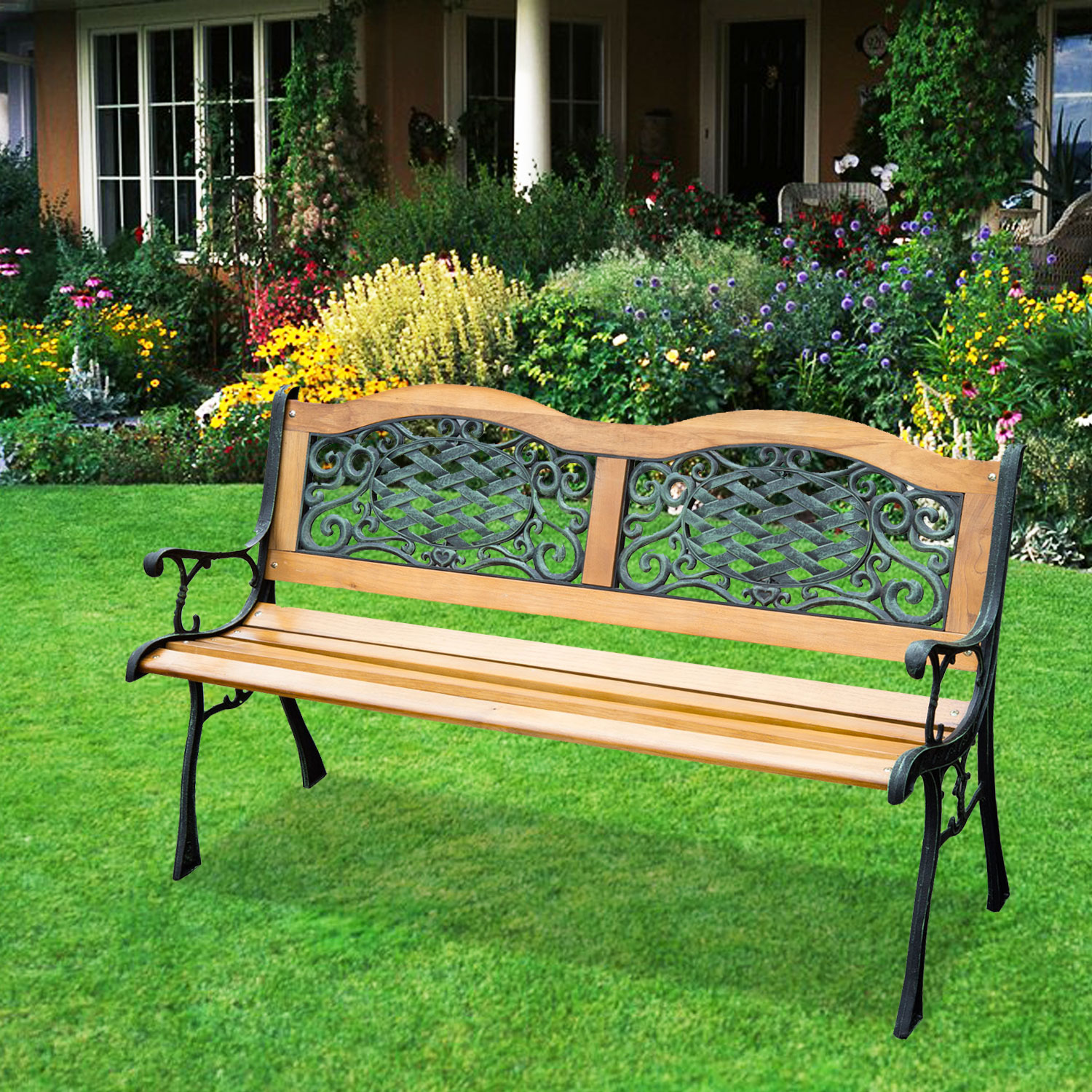 "Image of CAD $149.99 Outsunny 50"" Porch Park Chair Garden Bench Cast Iron Hardwood / Outdoor Loveseat Canada 95509791894"