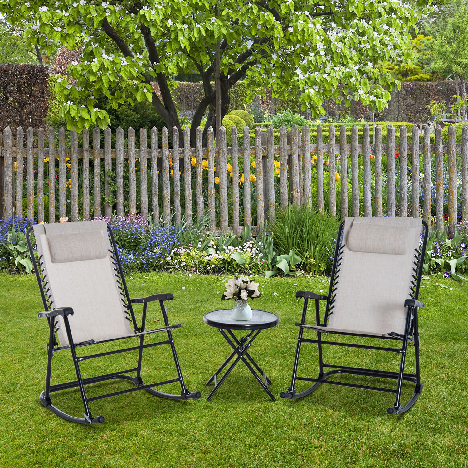 Image of CAD $119.99 Outsunny Outdoor Bistro Set Folding Rocker Portable 2 Chair 1 Side Table / CLEARANCE 3pc Lounger Garden Cream Porch Glider Canada 95509791733