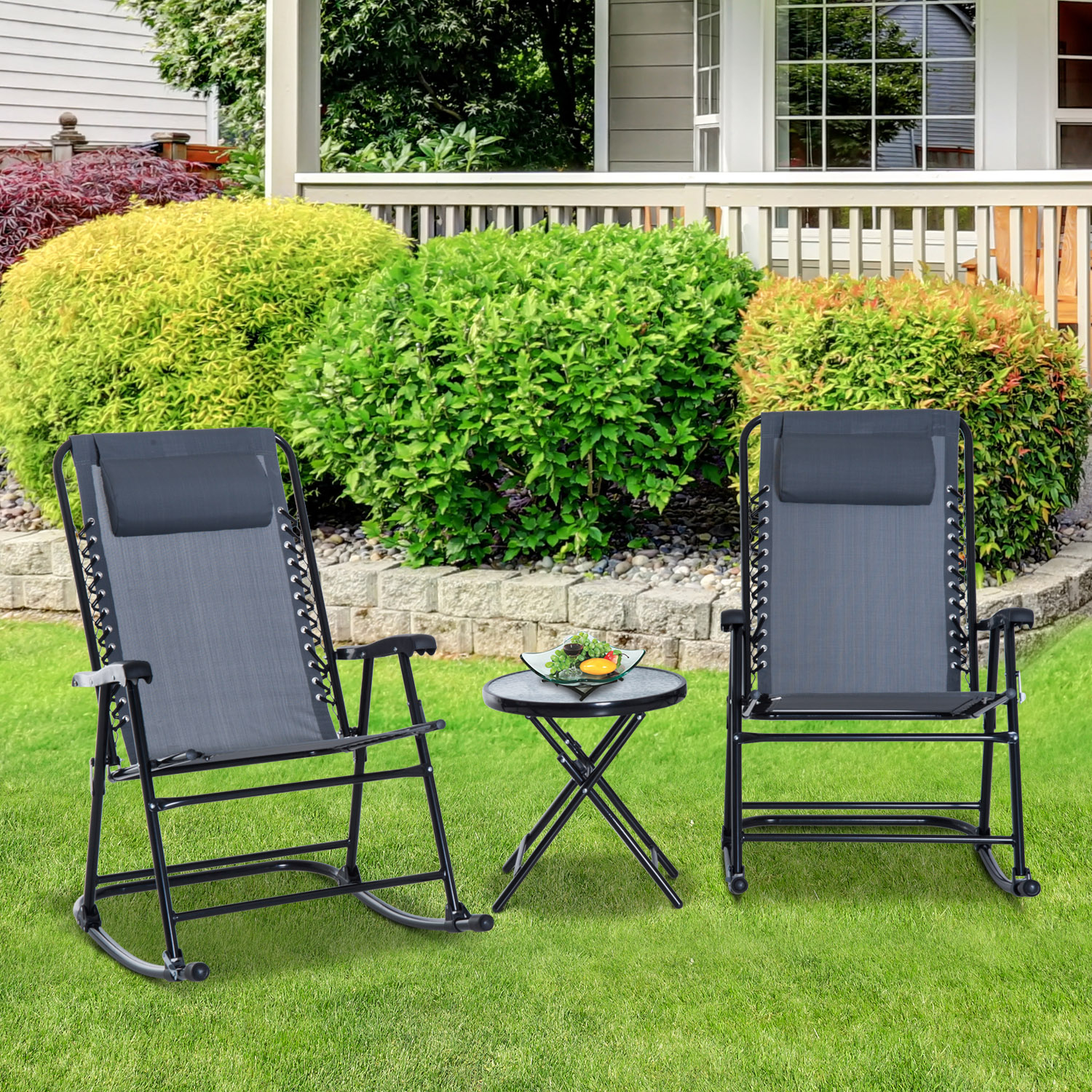 Image of CAD $109.99 Outsunny Garden Bistro Set Folding Rocker Portable 2 Chair 1 Side Table / CLEARANCE with Pillows Lounger Outdoor Grey Patio Glider Canada 95509791740
