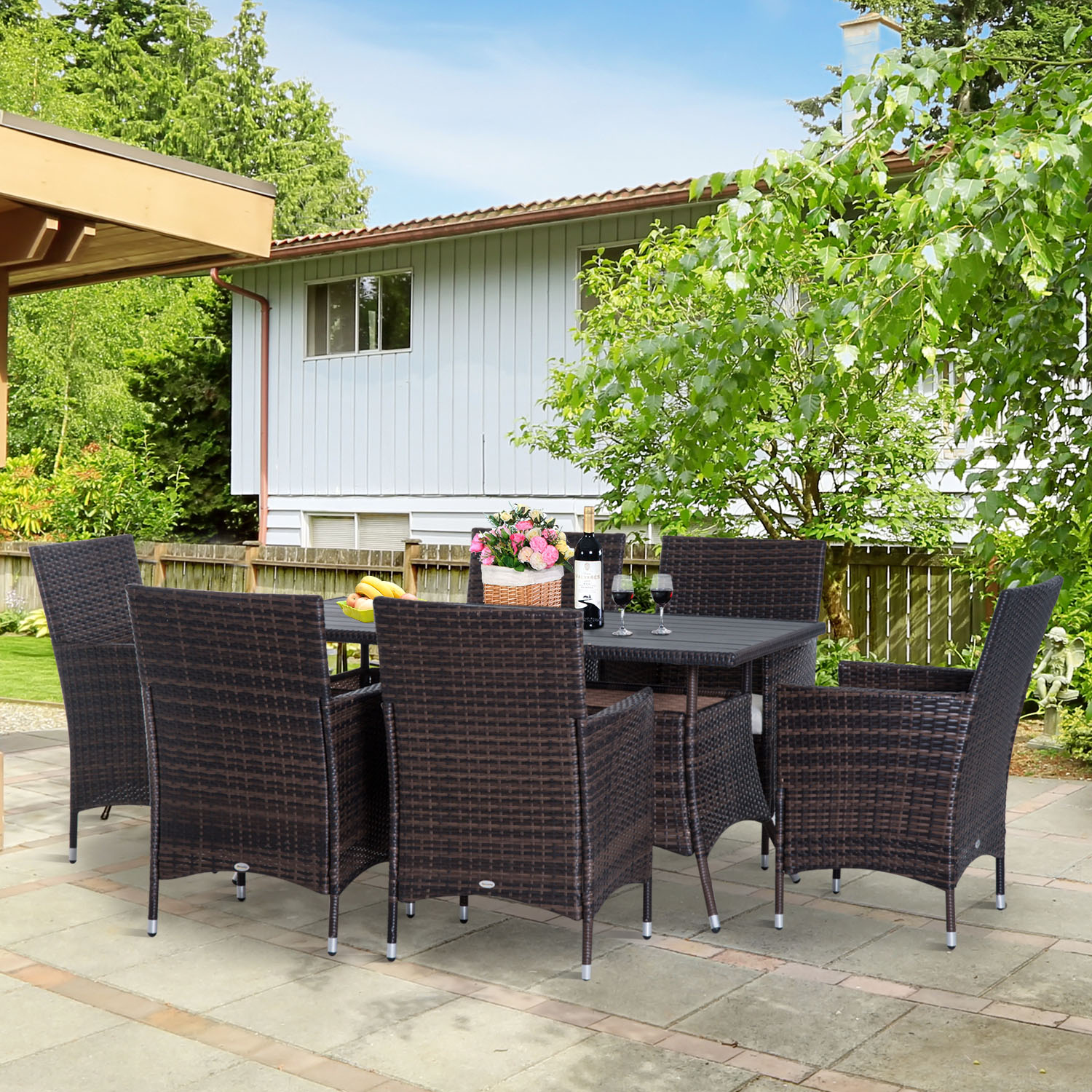 Image of CAD $739.99 Outsunny 7 Pieces Rattan Dining Set Garden Wicker Furniture Slatted Tabletop Deck / 7ps Outdoor Patio Backyard Slat Top Table and Chair Brown Canada 95509799333