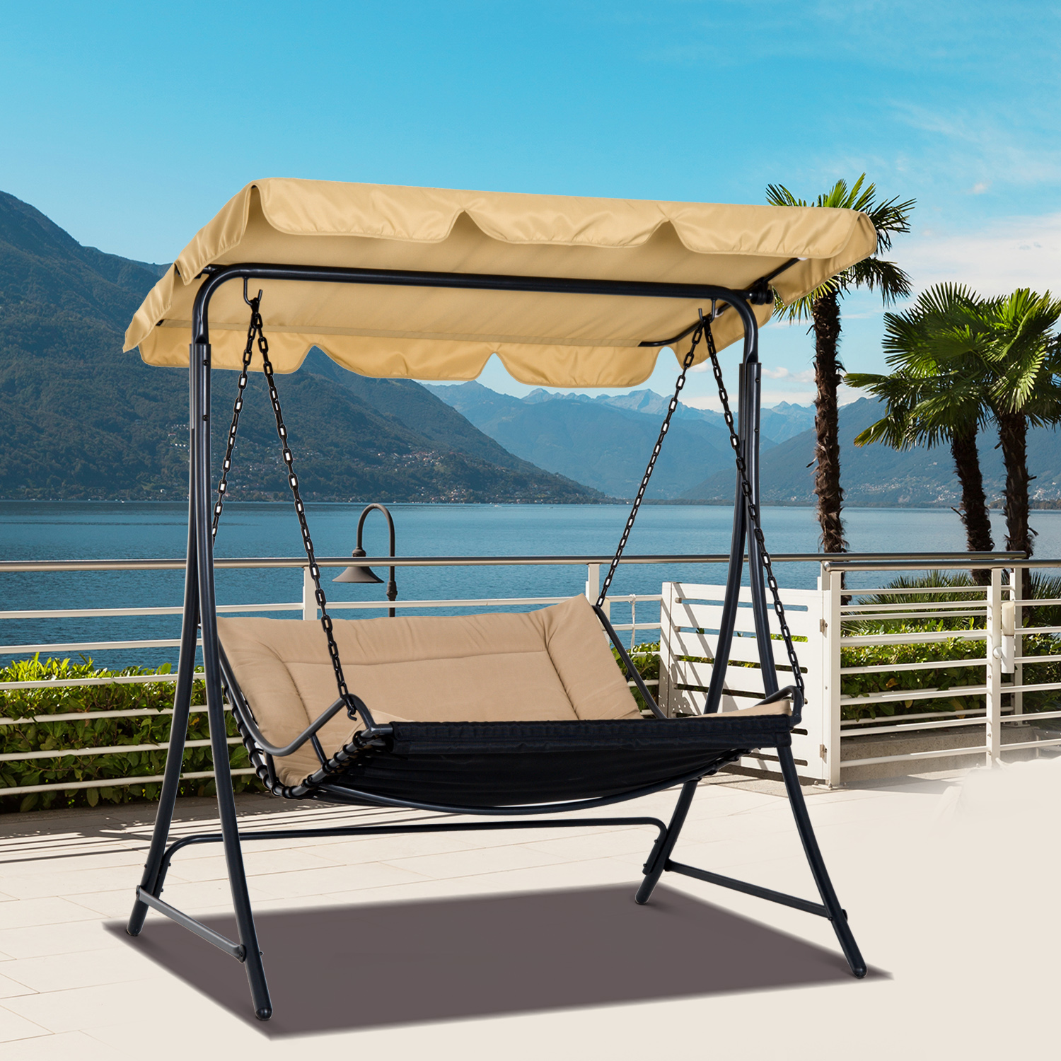 Image of CAD $142.99 Outsunny 2 Person Garden Swing Chair Lounge Cushioned Seat Porch with Tilt Canopy / Hammock Hanging Chaise Seater Outdoor Backyard Canada 95509791979