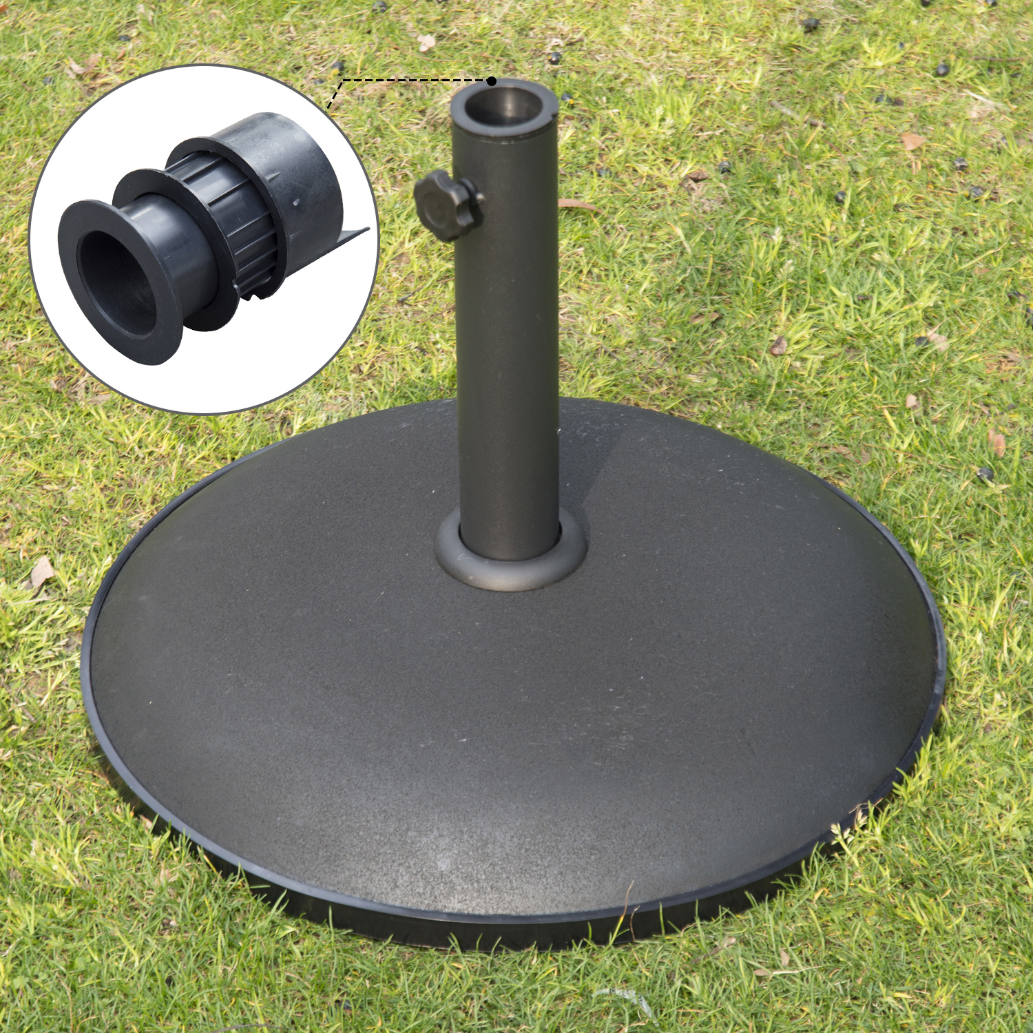 "Image of CAD $69.99 Outsunny 20"" Round Cement Umbrella Base Concrete Stand Holder Offset Black / Patio Outdoor Living Canada 95509799357"
