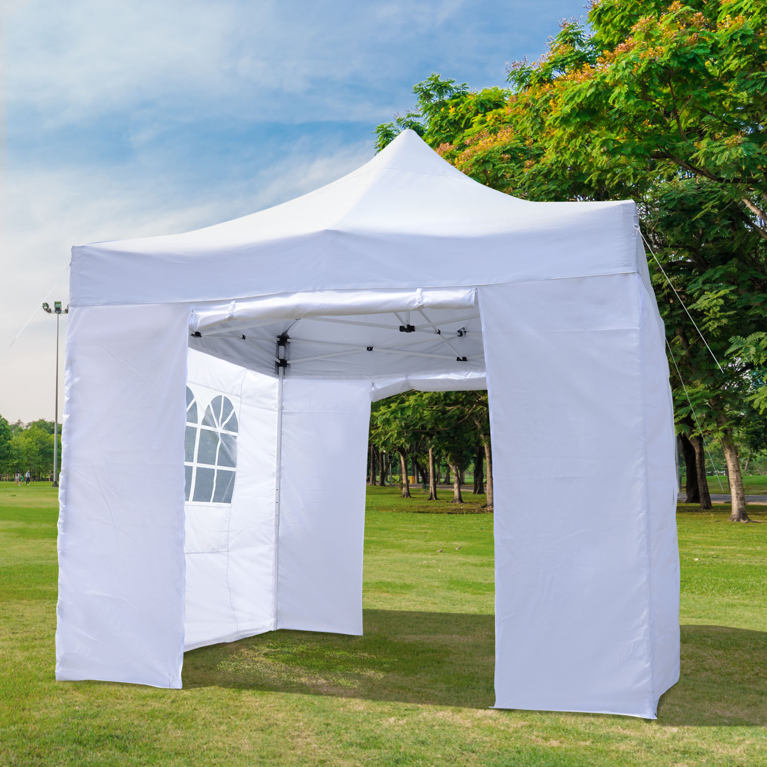Image of CAD $134.99 Outsunny 9.7x9.7ft Pop Up Party Tent Instant Commercial Gazebo Portable Foldable Outdoor Shelter with 4 Side Panels / Canopy w/ Canada 95509805829