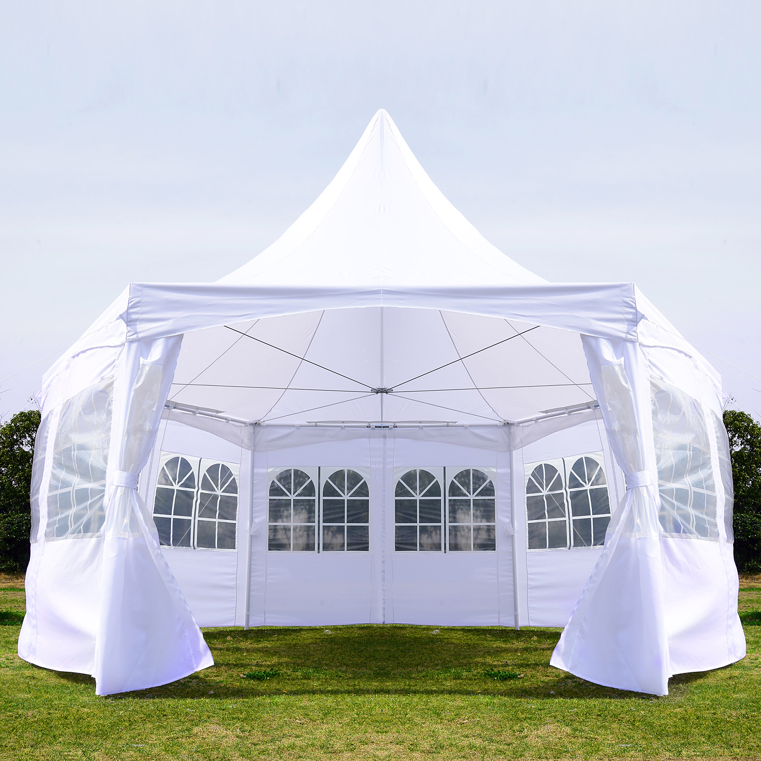 Image of CAD $449.99 Outsunny Pagoda Party Tent w/ Removable Sidewalls Wedding Outdoor Gazebo Canopy White /