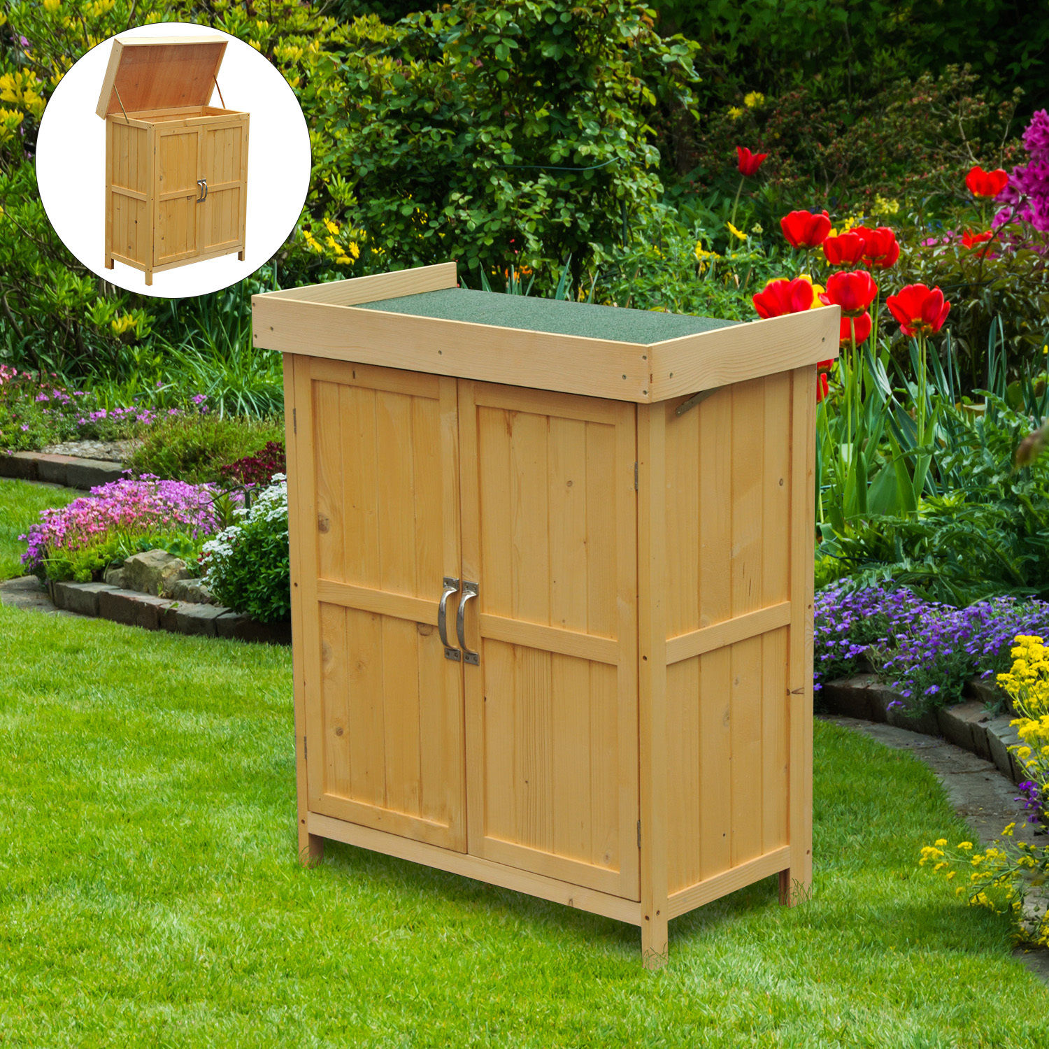 Image of CAD $104.99 Outsunny Garden Storage Shed Lift Top Outdoor Cupboard Box Natural wood / Double Door Tool Organization Backyard Chest Deck Canada 95509792105