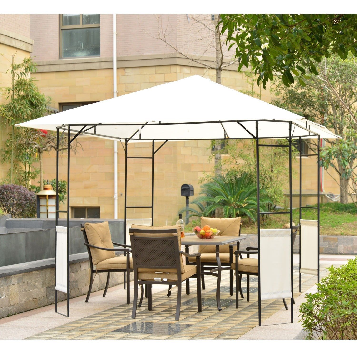 Image of CAD $159.99 Outsunny 10'x10' Modern Outdoor Gazebo for Garden and Festivals, Patio Party Tent, Wedding Canopy Pavilion Cream-white / BBQ Tent Canada 46655320599