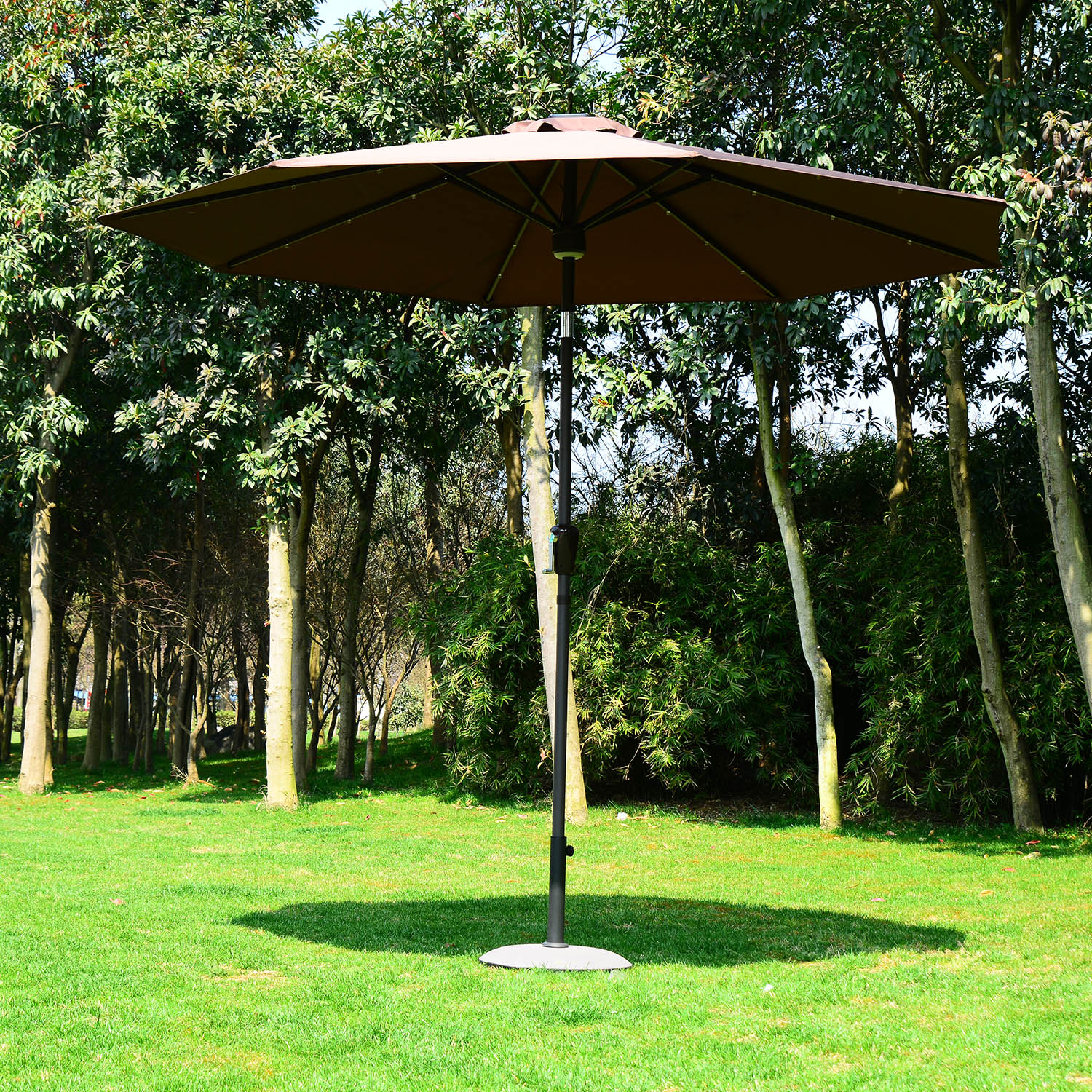 Image of CAD $98.99 Outsunny 9' Solar LED Market Patio Umbrella w/Bluetooth - Coffee / CLEARANCE Outdoor for and GardenSunshade w/ Bluetooth Speaker Canada 25093571770