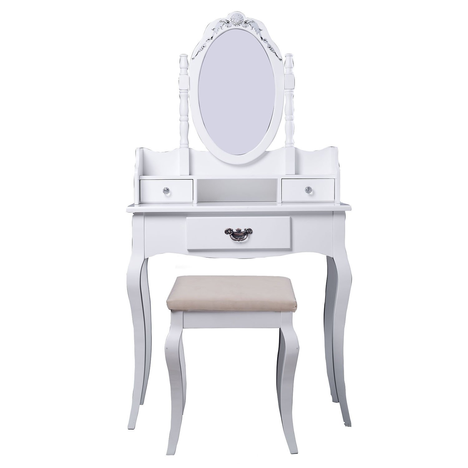 Magnificent Cad 179 99 Homcom Modern Vanity Dressing Table Stool Set Andrewgaddart Wooden Chair Designs For Living Room Andrewgaddartcom