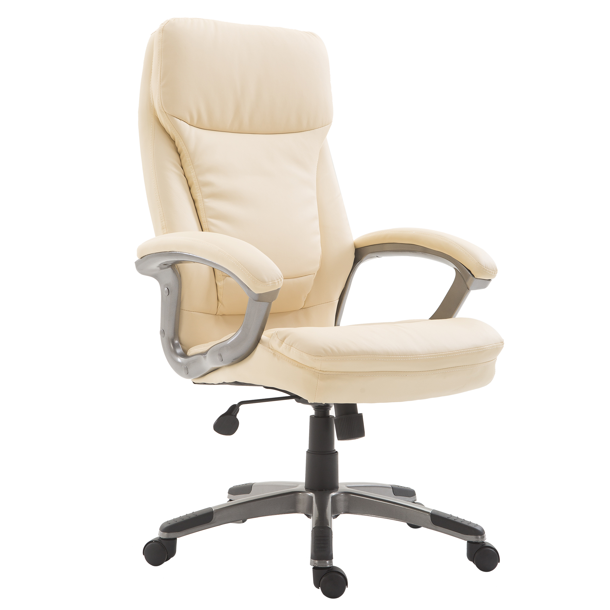 Image of CAD $179.99 HOMCOM High Back Executive Office Chair Thick Padding Cream / Big & Tall Ergonomic Computer Recliner Seat Adjustable Tilt PU Leather Home Furniture Canada 95509802538