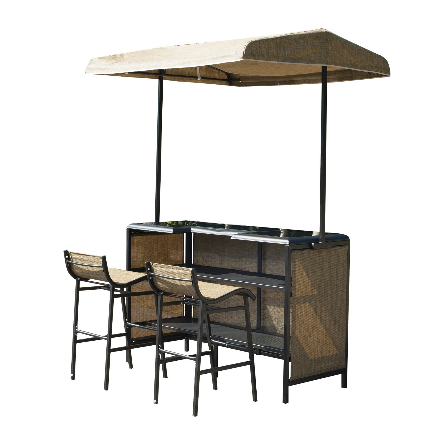 Image of CAD $349.99 Outsunny 3 Piece Outdoor Bar Table and Stool Set with Canopy Garden Patio Furniture Beige / CLEARANCE 3pcs w/ Canada 25093571138