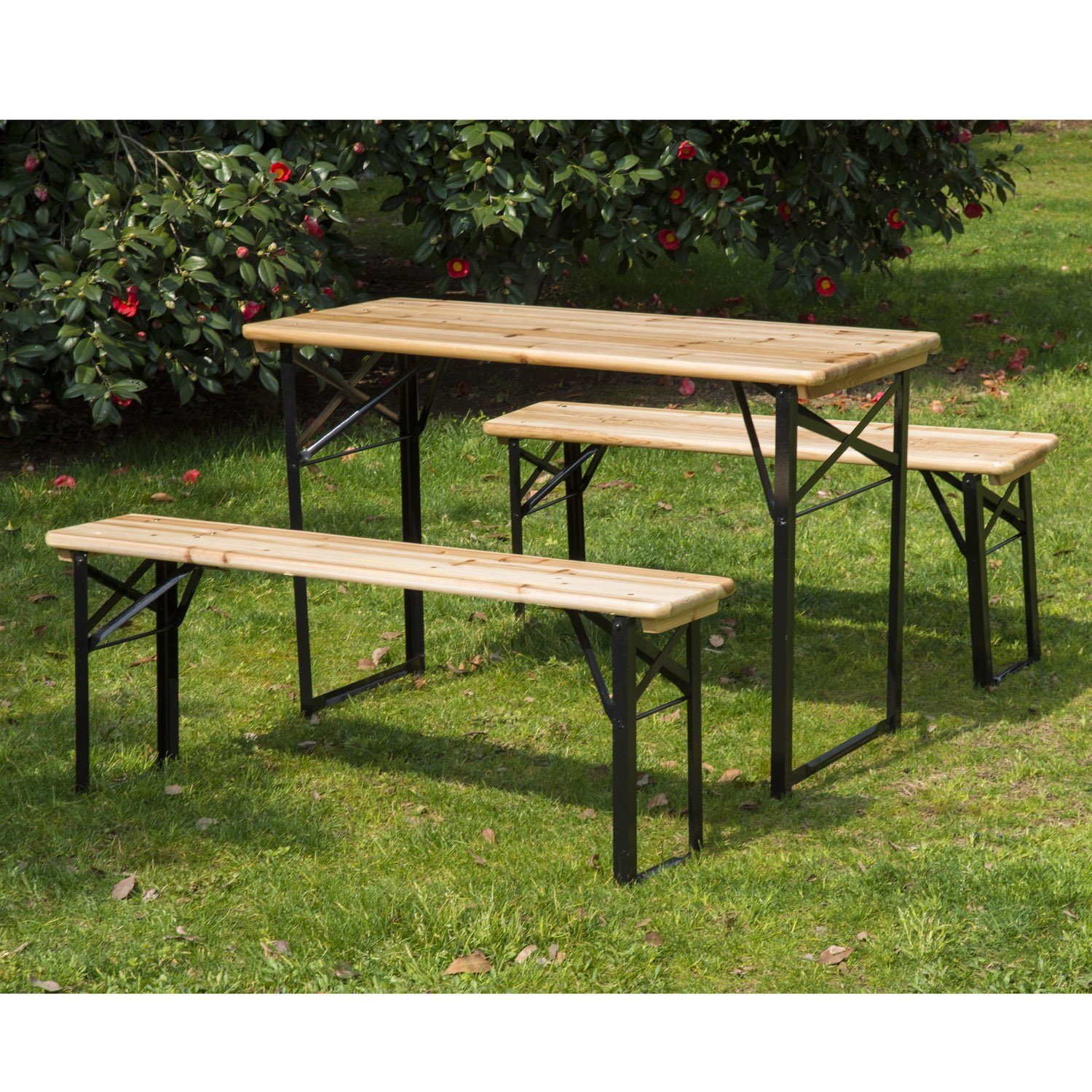 "Image of CAD $159.99 Outsunny 71"" Portable Heavy Duty 3 Pieces Picnic Table and Bench Set / 3pcs 71inch Beer Wood & Canada 25093570797"