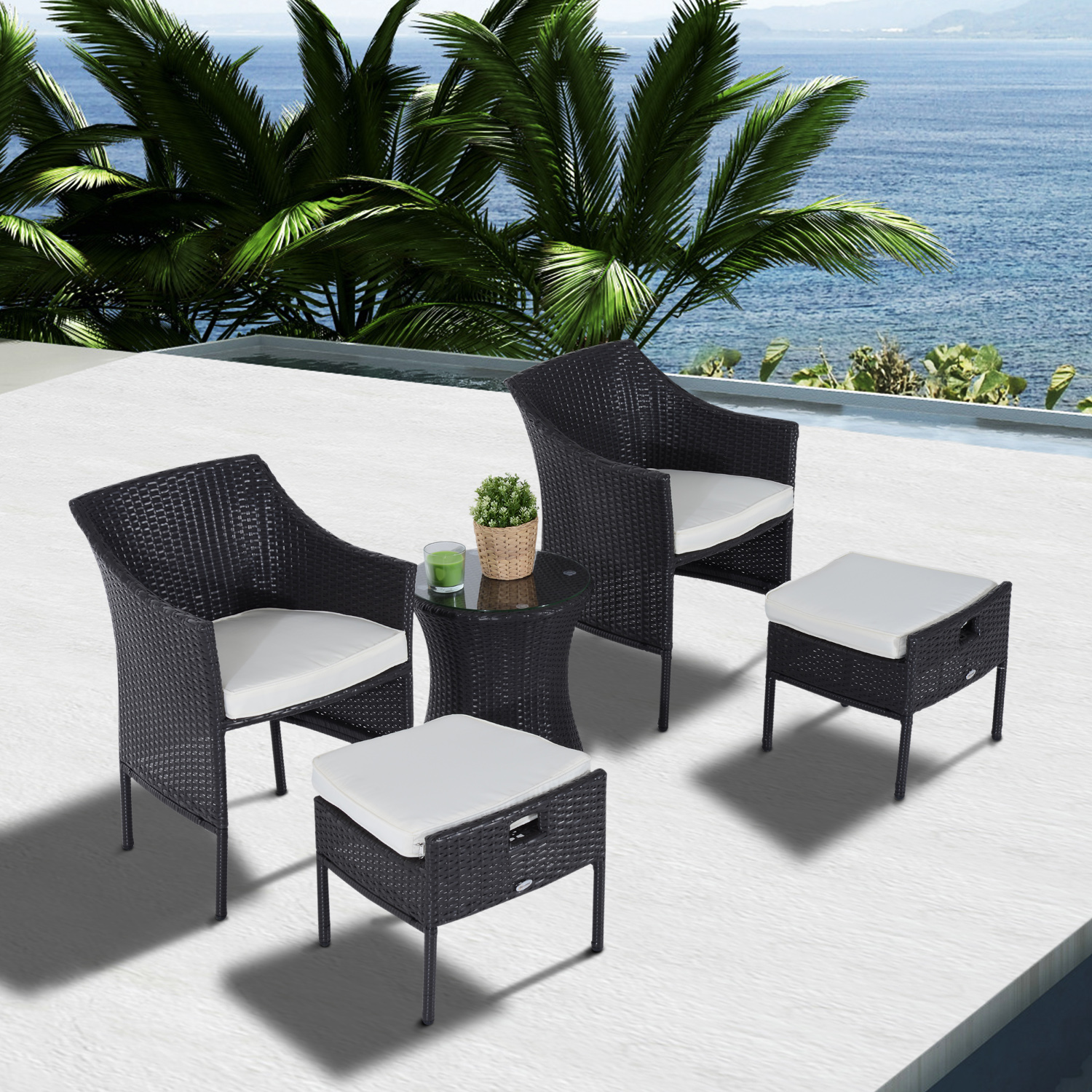 Cad 649 99 Outsunny 7pcs Outdoor Rattan Wicker Sofa Garden Sectional Couch Patio Furniture Set Chairs And Dining Table With Cushion Black Chair
