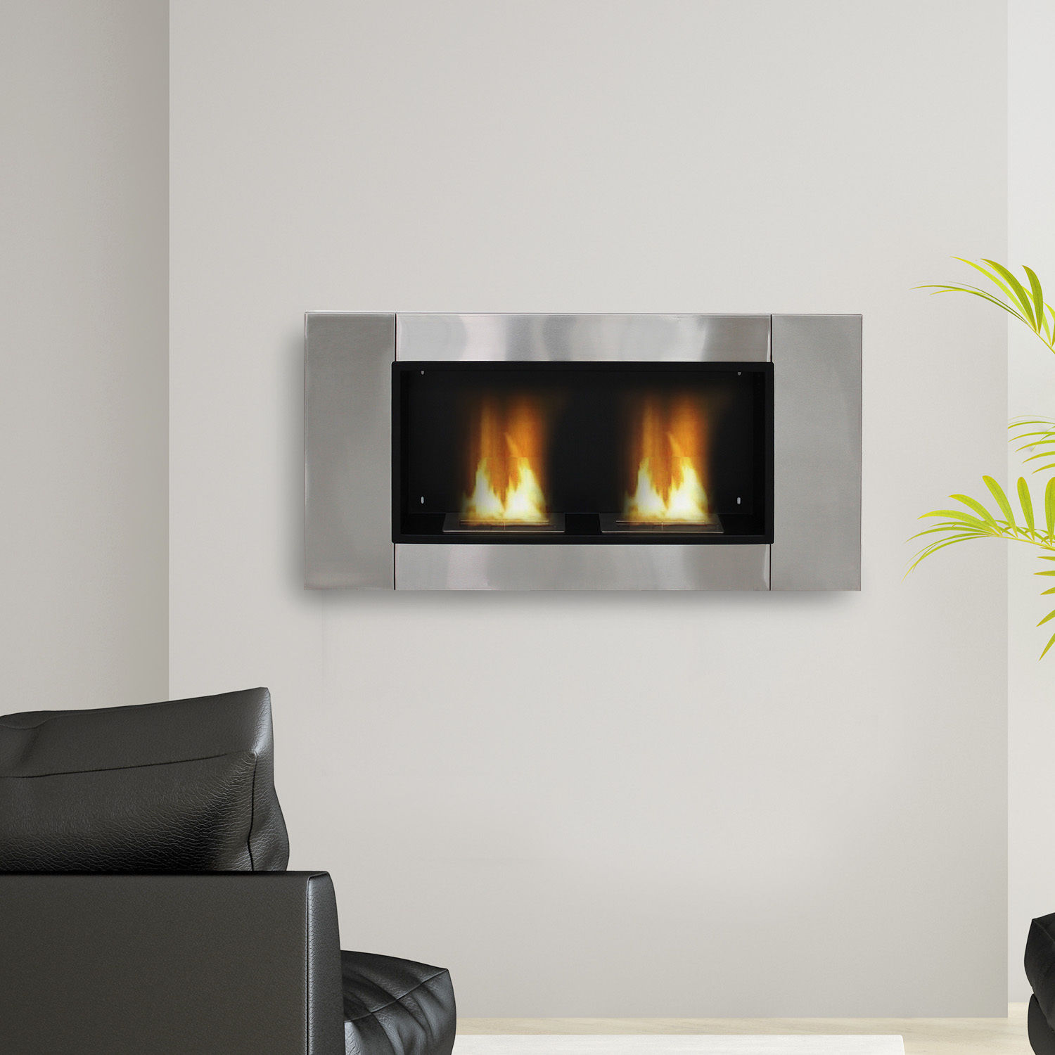 Image of CAD $196.99 HOMCOM Ventless Bio Ethanol Fireplace Recessed Wall Mounted Heater / Gel Alcohol 2 Burners Indoor Canada 46655323354