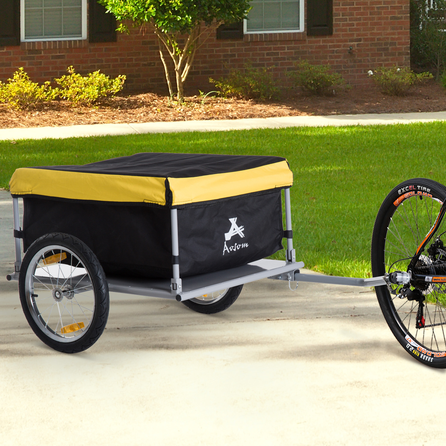 Image of CAD $129.99 Aosom Bicycle Bike Cargo Trailer Garden Utility Cart Carrier Tool Yellow / HOMCOM Large w/ Rain Cover Outdoor Yard Canada 25093570056