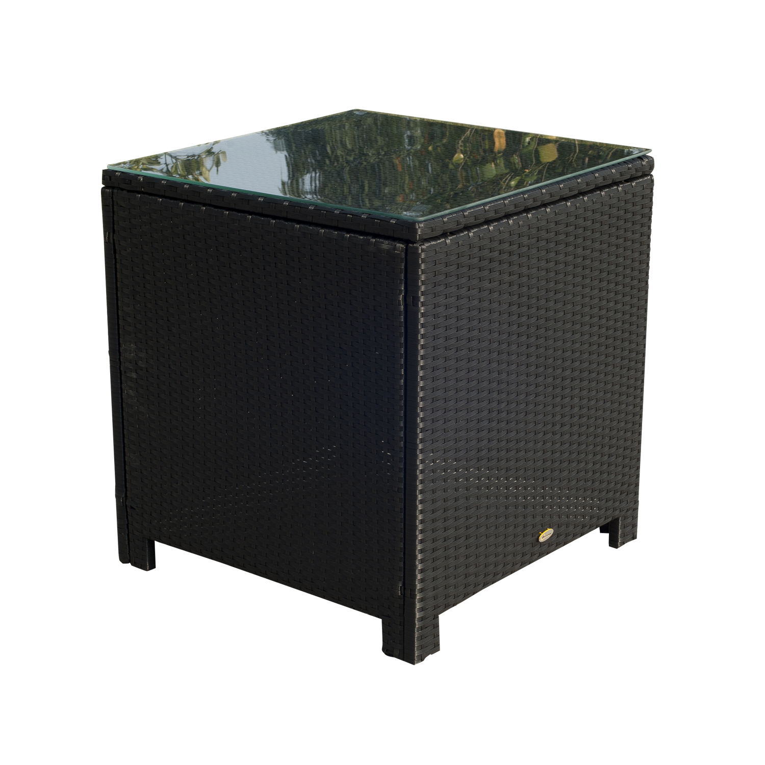 Image of CAD $129.99 Outsunny Rattan Wicker Side Coffee Table with Glass Top Outdoor Patio Furniture Black / Canada 24144523799