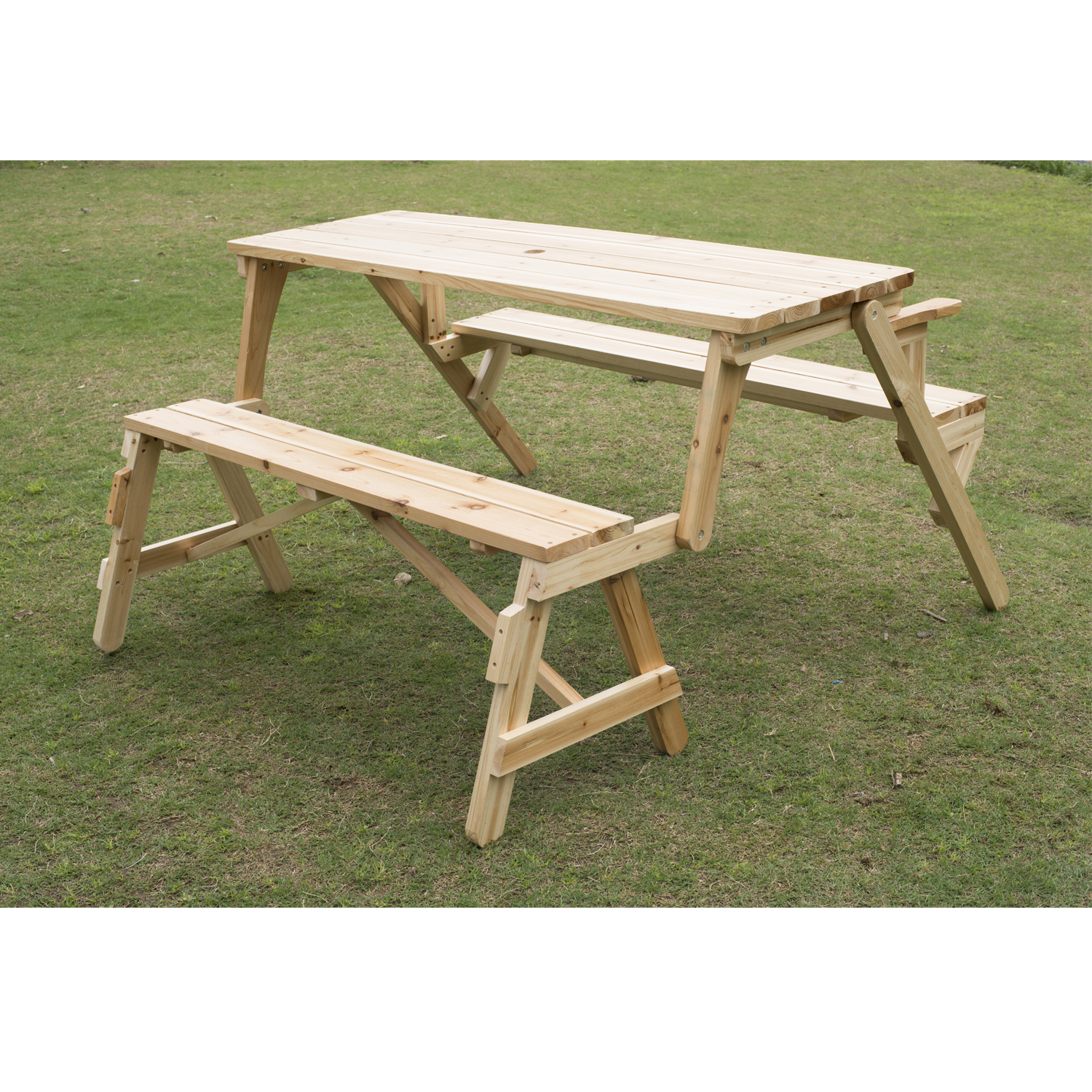 Image of CAD $159.99 Outsunny 2 in 1 Outdoor Picnic Table Garden Bench Fir Wood Durable Folding Portable Desk / Convertible & Foldable Canada 25093575600