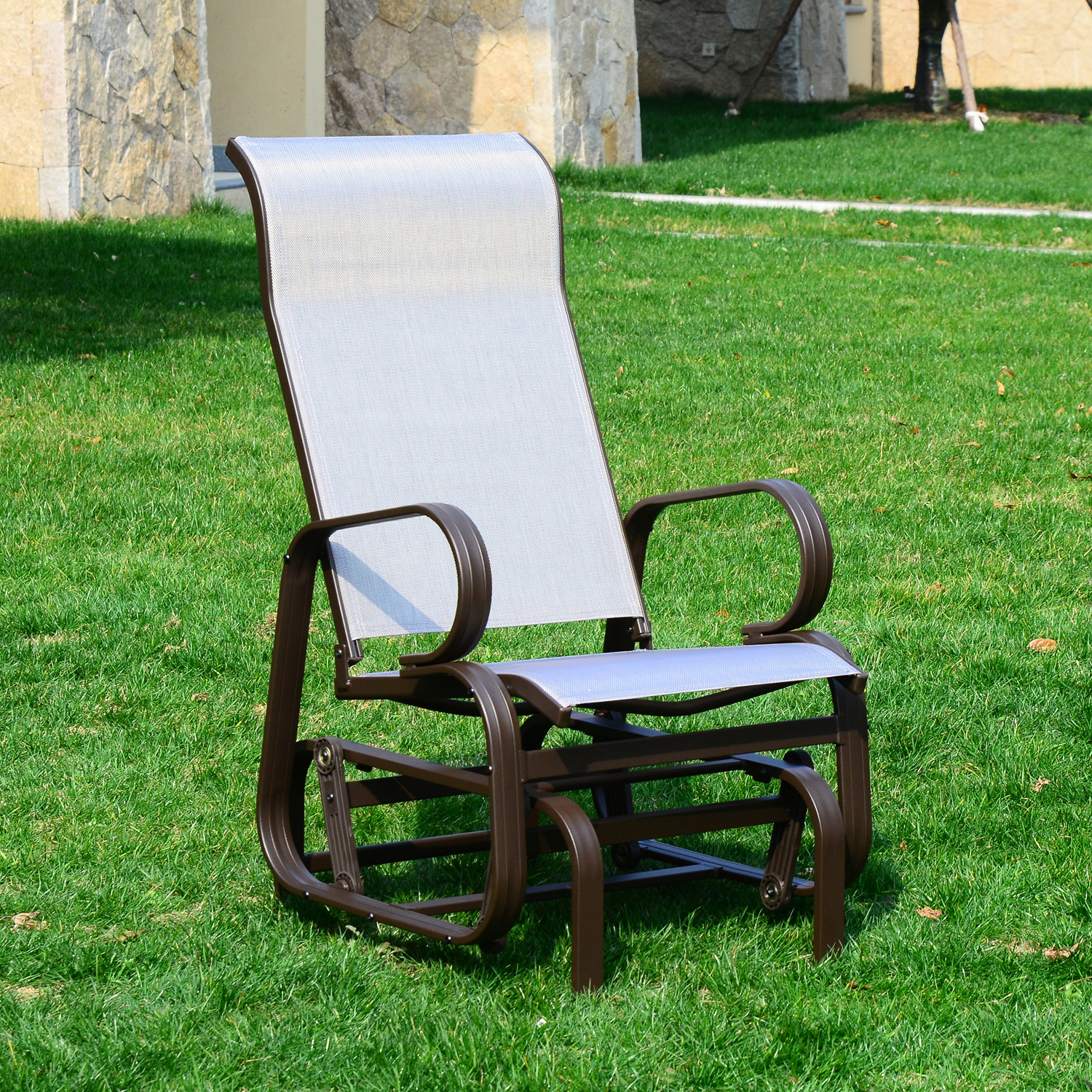 Image of CAD $134.99 Swing Chair Patio Wicker Lawn Seating Lounge Outdoor Porch Furniture Backyard / Outsunny Garden Gliding Rocking Glider Furniture, Brown & Beige Canada 46655320216