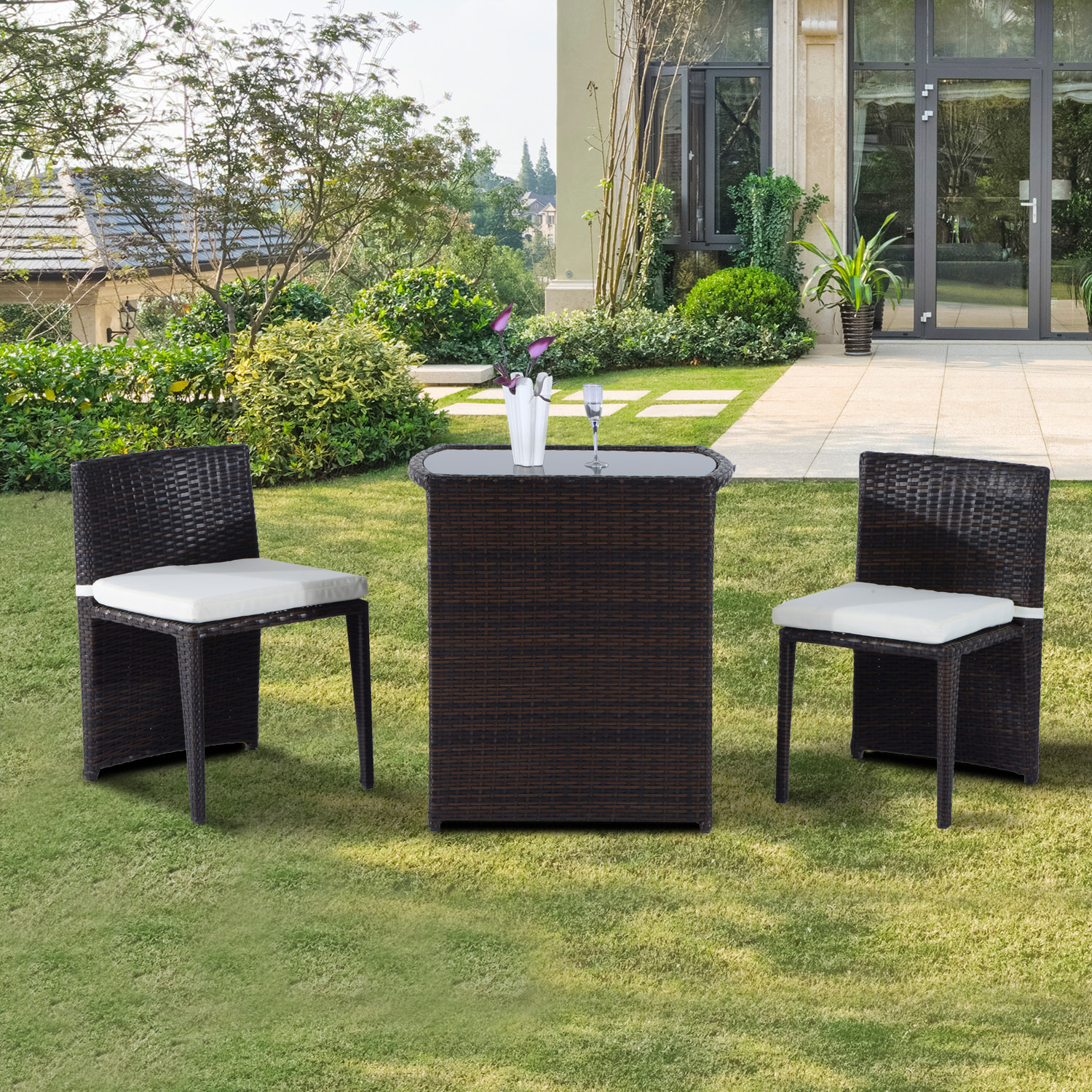 Image of CAD $189.99 Outsunny 3pcs Outdoor Wicker Rattan Bistro Set Patio Chair and Table Garden Lawn Coffee Sofa Furniture with Cushion / w/ Canada 46655326829