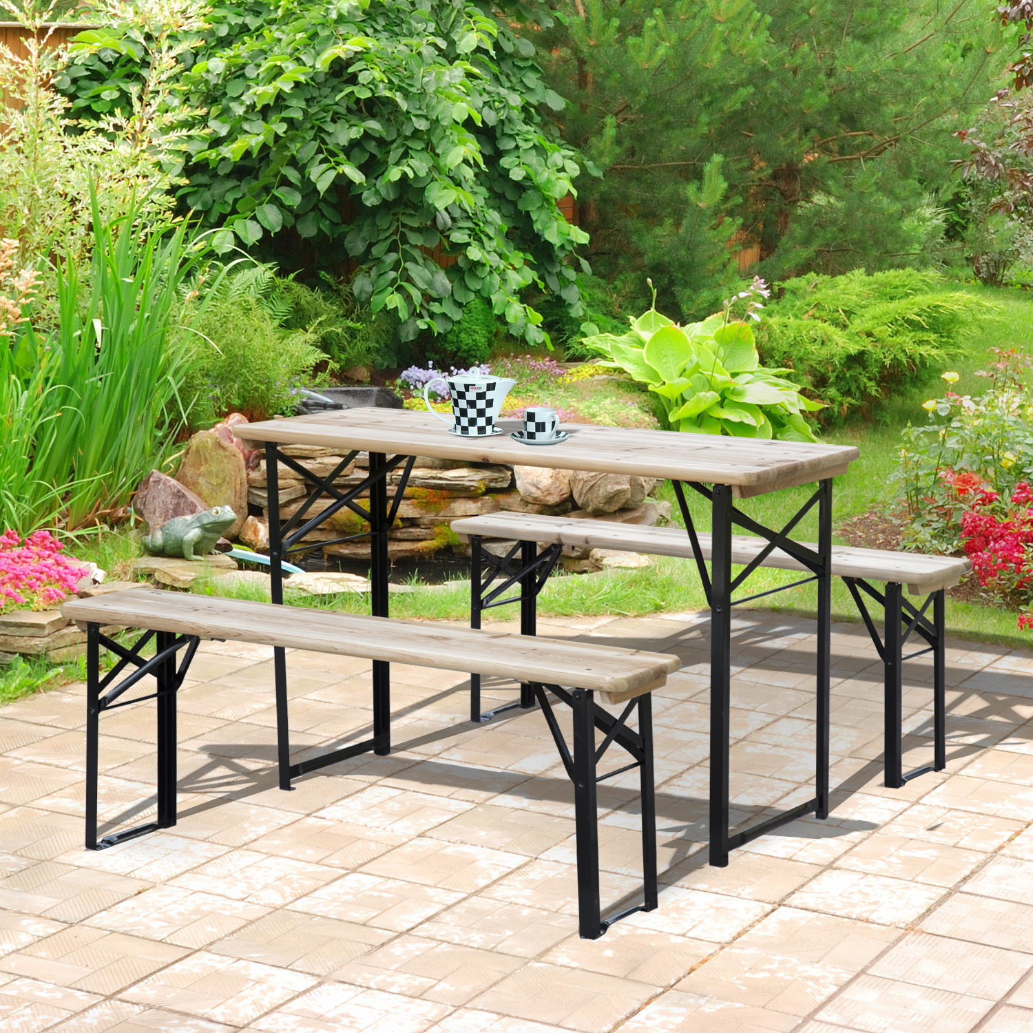 "Image of CAD $112.99 Outsunny 47.2"" Portable Heavy Duty 3 Pieces Picnic Table and Bench Set / 3pcs 47.2inch Canada 46655319388"