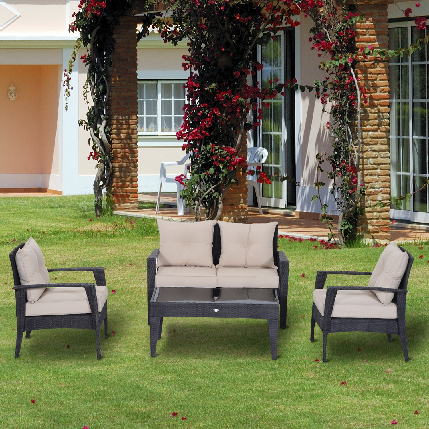 Outsunny 4pc Rattan Wicker Sofa Set Outdoor Coffee Table ... on Outdoor Loveseat Sets id=43290